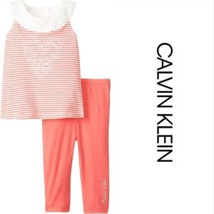 Baby Girl Heart Tunic Top Legging Set Coral Outfit